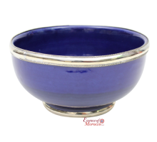 Moroccan Ceramic Bowl with Silver Edge Handmade in Morocco. 10 cm / 4 in . (Blue Cobalt)